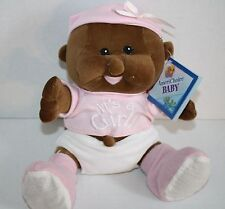 """Balloons Inc BABY DOLL 8"""" Chime Rattle Its a Girl Pink Dark Skin Plush Soft Toy"""