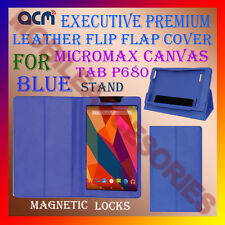 ACM-EXECUTIVE LEATHER FLIP CASE for MICROMAX CANVAS TAB P680 COVER STAND - BLUE