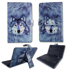 """Husky Wolf For RCA Voyager 7"""" Tablet USB Keyboard Case Cover Stand Folio Leather"""