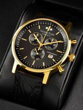 """Calvaneo 1583 Hochfeine """"Centron Black Gold"""" Herrenuhr Chronograph mit Swiss ISA"""