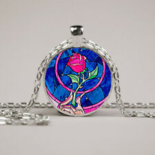 Beauty and the Beast Pokemon glass cabochon pendant necklace friend gift  YS-8
