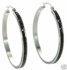 Steel by Design Crystal Hoop Earrings Silver w/ Black Crystals '