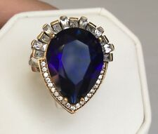 Handmade Big Sapphire Blue Turkish Ottoman Cocktail Womens Statement Ring 11