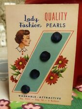 """Vintage Tiny Carded Navy Pearl  Buttons 3/8"""" Size 14  NOS, Made in USA"""