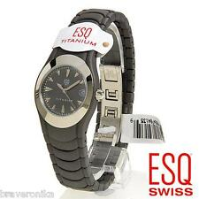 ESQ BRILLIANT GREY TITANIUM DATE QUARTZ LADIES WATCH. BRAND NEW