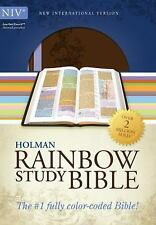 NIV RAINBOW STUDY BIBLE Brown and Lavender LeatherTouch ~ BRAND NEW IN BOX