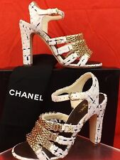 16P NIB CHANEL WHITE TWEED GOLD STRAPPY CHAIN CC PEARL LOGO SANDALS PUMPS 39
