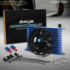 "Racing 15 Row 10AN engine Transmission Oil Cooler + 7"" Electric Fan Kit"