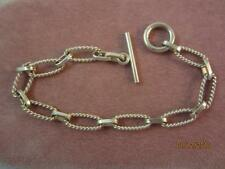 STERLING SILVER TWISTED OVAL ROPE LINK STARTER CHARM/ CHAIN BRACELET W/ TOGGLE