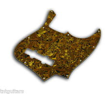 Jazz Bass Pickguard for 5 Strings, 3 Ply Gold Abalone, 10 Hole, Fits Fender