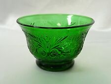 "Anchor Hocking Sandwich Glass Forest Green Custard Cup Small Bowl 2-3/8"" Vintage"