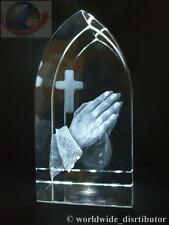 LASER CRYSTAL PAPERWEIGHT PRAYING HANDS CROSS 3569 ARC SHAPED PRESENTATION BOXED