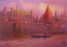 "NEW ORIGINAL MARK HARRISON ""Sunrise On The Ganges"" Varanasi India River PAINTING"