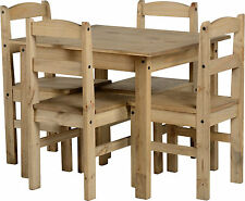 Corona style Mexican distressed pine dining set with 4 Mexican chairs