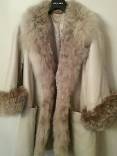 leather with silver fox fur warm winter coat jaeger/free shipping
