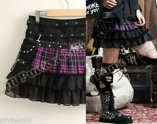 Tartan Mini Skirt with Detachable Pocket Purple Goth Lolita Punk GLP 61189