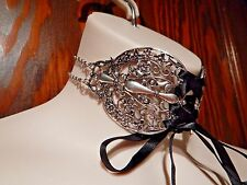 ORNATE GOTHIC CORSET LACE CHOKER silver chain black ribbon bohemian steampunk R1