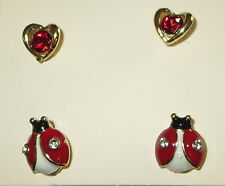 Red Ladybug Earrings Set Heart Crystal Accents Gold Tone Pierced New 2 Pair