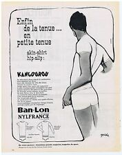 PUBLICITE ADVERTISING 104 1963 BAN-LON Nylfrance sous vêtement Kangourou Goude