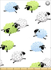"Susybee's Lewe Leaping Sheep White 100% cotton 42"" X 36"" fabric by the yard"