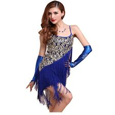 Latin Party Tassel Sequin Fringe Flapper Dress Nightclub Club Wear 3 Colors