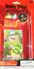 ANGRY BIRDS 7 PIECE STATIONERY AND 4 PIECE FRIDGE MAGNET SETS BNIP