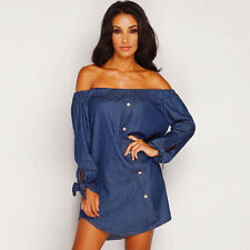 Women Sexy Off The Shoulder Casual Long Sleeve T-Shirt Tops Blouse Mini Dress
