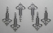 #1486 ANTIQUED SS/P ART DECO 2 RING CONNECTOR - 6 Pc Lot