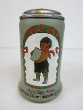 Mettlach Beer Stein Tankard 3080-534 Black Boy Child Mug German Verse Date 1910