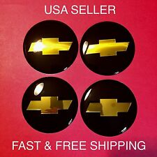 Chevy Bowtie 4Pcs Black 65mm Domed Emblem Wheel Center Hub Cap Decals Stickers