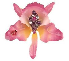 Joan Rivers Orchid Enamel Pin Brooch with Lady Bug