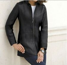 Women's Winter Fall Black Leather Jacket Coat plus tag size 2X& fit XL 1X $310