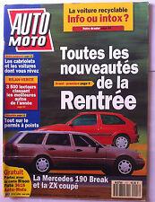 Auto Moto du 8/1992; Mercedes 190 Break et la Zx Coupé/ Voiture recyclable