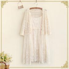 Summer Japanese Vintage Sweet Lolita Mori Girl Lace Shirt Long Cardigan Coat #99