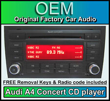 Audi A4 CD MP3 player, Audi Concert car stereo head unit with radio code + keys