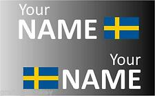 1 Pair Handed Swedish Rally Car Name decal sticker graphics  Swedish flag