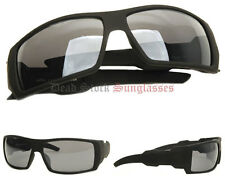 """Oil Drum Sunglasses"" MATTE BLACK mens wrap around square shield locs gangster"