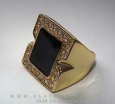 Luxury Elvis crystal black onyx concert ring in 18 gold plate a great ring 10-U