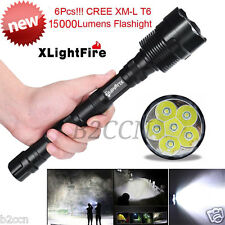15000 Lumens 5 Modes Hunting Light  6Pcs XM-L T6 LED Flashlight Torch 3x 18650