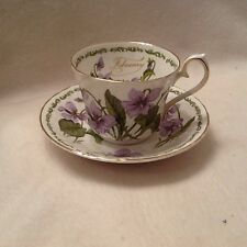 House of Global Art Cup and Saucer February Violets Bone China Tea Coffee Cup