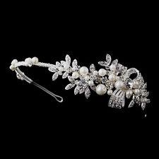 Silver Wedding Bride Crystal & Ivory Pearls Side Embellishment Bridal Headpiece