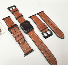 Brown Leather Watch Strap Band for Apple Watch 42mm Series 1 & 2 Black Fixings