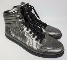 Gucci Coda High Top Sneakers Metallic Silver Leather Shoes Size 10 G / 11 US