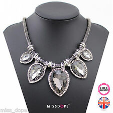 NEW Water Drop Crystal Grey Gem Silver Statement Necklace Chain Womens Bib UK