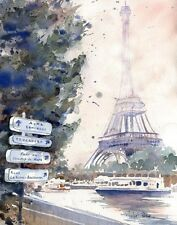 Paris Eiffel Tower Art Travel of a watercolor Painting La Tour Eiffel