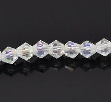1 STRAND AB CLEAR CRYSTAL FACETED BICONE BEADS ~4mm~APPROX 72 BEADS(31C)