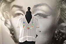 1920'S 1930'S SHEER BLOUSE TOP WHITE EMBROIDERED FLOWERS COLLAR FLAPPER TEA