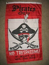 3x5 Jolly Roger Pirate Pirates Only No Tresspassing Vertical 3'x5' Flag Banner