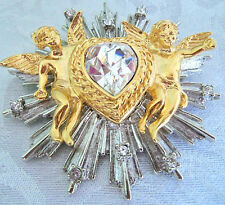 GRAZIANO LARGE ANGEL SITTING ON STAR CRYSTAL HEART PENDANT BROOCH GORGEOUS