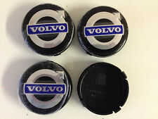 4 Set Black  / Blue ALLOY WHEELS CENTER CAPS SET Face 64mm Clip 62mm for VOLVO